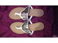 White sandals size 7, primark