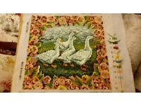 EHRMAN TAPESTRY Geese....ideal for a cushion....blocked ready to use!