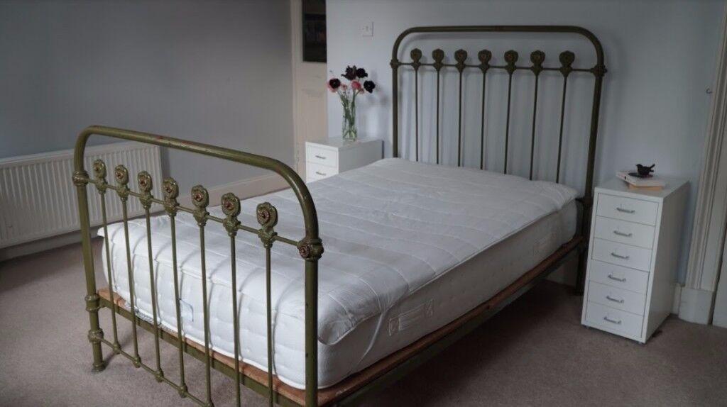 Beautiful Antique Victorian Iron Bed Frame Original Not Replica