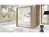 Brand New 2 or 3 Door German Sliding Wardrobe Full Mirror, Shelves, Hanging Rails Express Delivery
