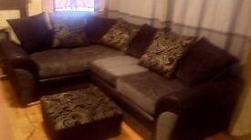 Corner suite cuddle chair and footstool