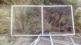 Metal grille fencing.