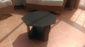 Coffee table black ash effect octagonal with lower shelf