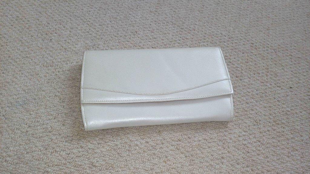 Clarks white pearl clutch bag