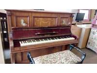 Beulhoff upright piano with stool. Beautiful sound