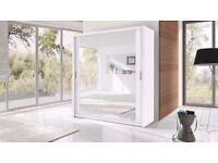 Brand New Berlin 2 Door Sliding Wardrobe Full Mirror, Shelves, Hanging Rails, In White/Black Colour