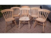 6 Pine / Beech Dining Chairs, Solid Wood Kitchen Chairs