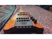 Hohner B2AV five string headless bass guitar with gig bag
