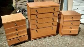 Retro/ vintage bedroom set - Chester of draws (5 draws) and 2 bedside cabinets