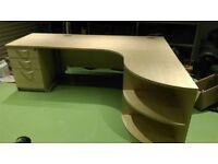 Office Table, Draw Unit, Quadrant File Shelf in Beech/Light Oak