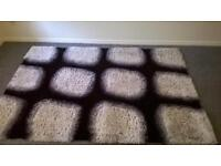 Black and white thick rug