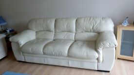 2 & 3 Seater cream Leather Settees.