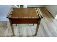 Vintage/ Retro Wooden Leather Desk Side Table