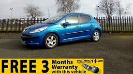 Peugeot 207 Se 16v +Low Mileage, 1 Year MOT, Warranty.