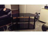 Black glass 32 inch tv unit