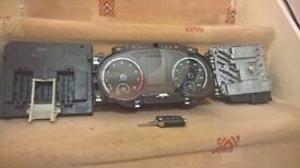 vw golf r 2015 dash clock/cluster and ecu and body control ecu and wiring loom with key