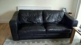 2 Black Leather 3 Seater Settees