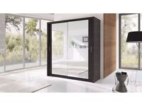 - 4 COLOURS AVAILABLE :- Berlin Sliding Doors German Wardrobe 203cm With Full Length Mirrors
