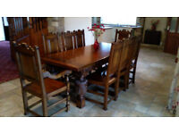 Stunning, hand-crafted, solid oak dining set, with extendable table and 8 chairs