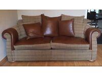 Settee sofa half leather/ half fabric tub chair & chair