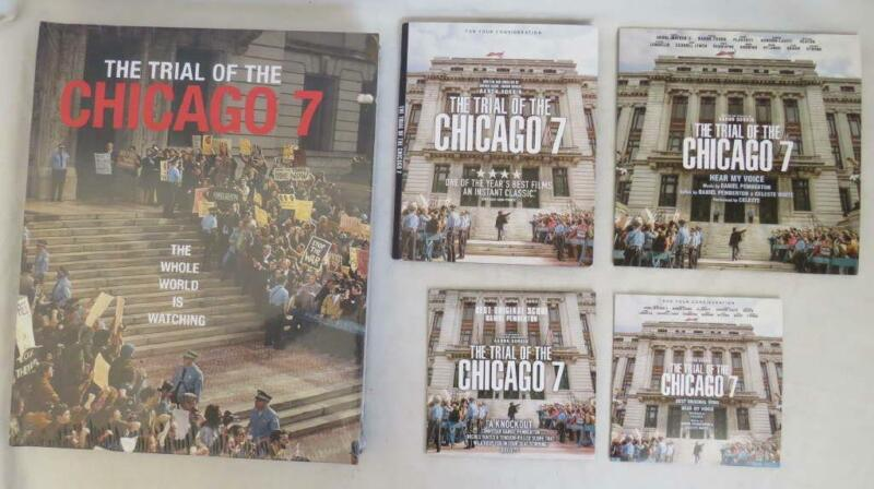 Netflix THE TRIAL OF THE CHICAGO 7 Promo DVD, Coffee Table Book, 2 CD