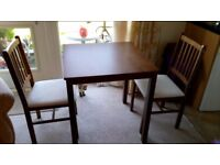 DINING TABLE PLUS 2 MATCHING CHAIRS VGC