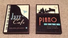 Jazz cafe and piano bar box frame pictures.
