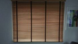 Real Wood Venetian Blinds with Chocolate brown tapes & large slats