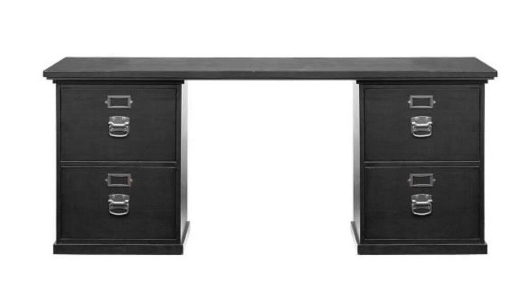 Four Drawer Home Office Desk Black Including 2 Filing Pottery Barn Good Condition