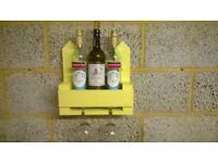 """Rustic """"Wine For 2"""" Bottle & Glass Rack / Holder"""