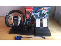 Logic 3 Topdrive GT steering wheel and pedals for PS1/PS2, and adapter for PS3/PC included