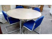 Circular meeting table and X 4 chairs
