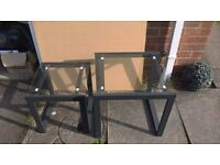 2 Square, Glass Nest of Tables (with grey metal frame)