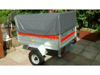 ERDE 122 CAMPING BOX CAR TRAILER AND HIGH TOP COVER AS NEW USED ONCE BEEN STORED SINCE PERFECT