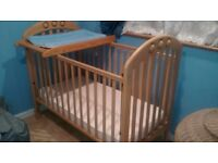 Wooden Cot changer with blue mat