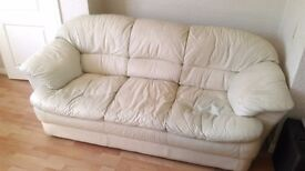 FREE Cream 3 seater sofa, slightly worn and tear on far left seat