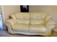 Cream leather suite 3seater and 2 seater sofas in reasonable condition