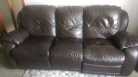 Recliner 3 Seater Sofa - Brown Leather