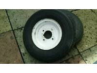 """2 trailer tyres and wheels continental 4"""" pcd ,not for erde 4.00 x 8"""