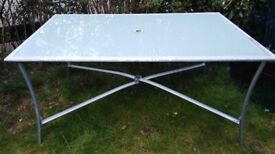 LARGE METAL & WHITE GLASS GARDEN TABLE - USED BUT GOOD CONDITION