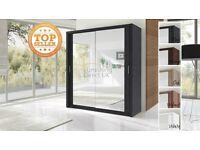 Lux 203 2 Door Sliding Wardrobe in Black cupboard cabinet full Mirror oak walnut white wenge