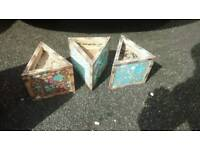 3 SMALL WOODEN TRIANGLE GARDEN PLANTERS SMALL AND CUTE