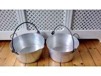 2 x Vintage Swan Aluminium Jelly Jam Pans Saucepans Kitchen Pots