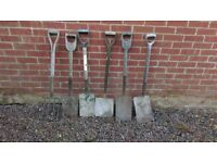 Selection of spades and shovels and fork