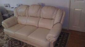 genuine Italian leather 3 piece suite 3 seater and 2 chairs great condition!!!