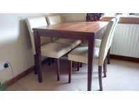 Walnut dining table and 4 chairs for sale