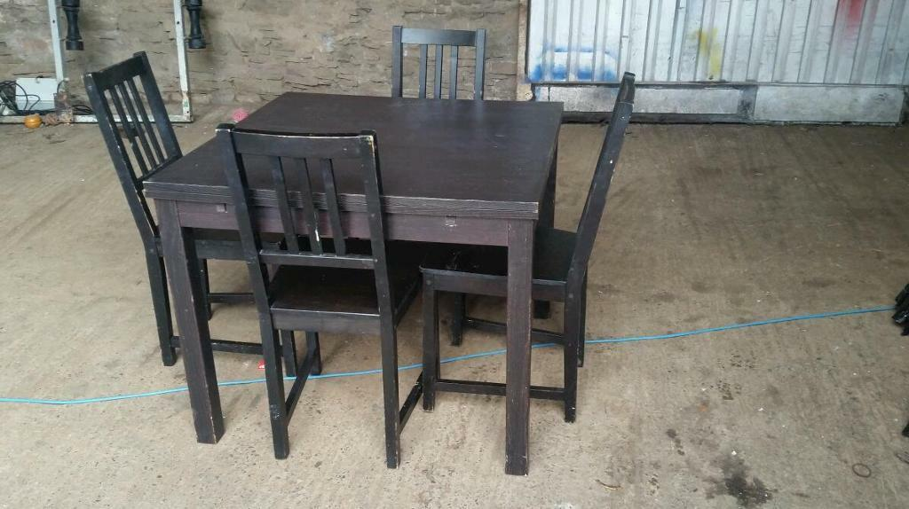 Black Extendable Solid Wood Dining Table In Dundee Gumtree