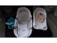 Moses basket, baby bath, top + tail bowl + bath seat