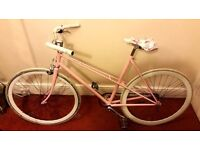 Vintage road/commuter bike with pink 53cm Raleigh frame