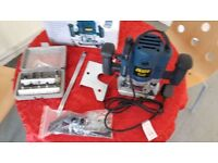 Power Craft Router PBF-1200 boxed with Parallel Guide, Template Guide and 10 Routerbits